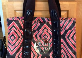 Tory Burch Large Geometric Canvas & Patent Tote