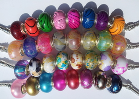 50pcs+ .925 Stamped Acrylic Charm Beads Multiple Styles Colors