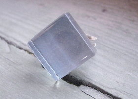 Ocean Blue Glass Tile Ring *upcycled*