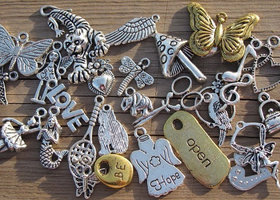 Tibetan Metal Charm Variety, Set of 65 Assorted