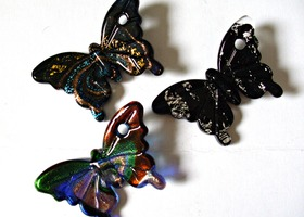 Gorgeous Dichoric and Lampwork Glass Butterfly Pendants