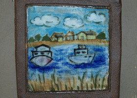 Mini Tile Painting with Boats