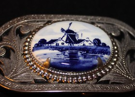 NAUTICAL, BLUE /IVORY BELT BUCKLE
