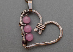 Copper Heart Necklace with Pink Jade Beads Hammered and Oxidized