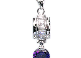 PURPLE AMETHYST 18K GP PENDANT