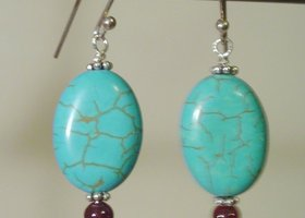 Sterling Silver, Turquoise & Garnet Earrings
