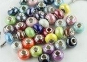 Pandora Like Shiny Porcelain Beads Solid Colors