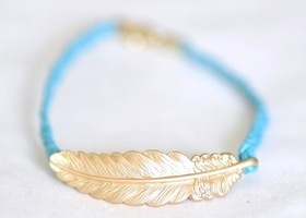 Feather Friendship Bracelet - Sky Blue