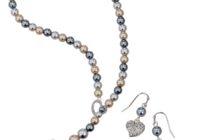 Avon Sweet Pearlesque Lariat Necklace & Earrings Set