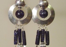 Large Sterling Silver Midnight Galaxy Sitara Earrings