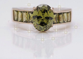 Gorgeous Peridot Band Solitare