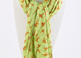 Beautiful green sparrow print scarf