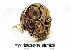 Steampunk watch movement ring, Bulova