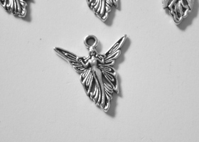 25 Antiqued Silver Angel Charms
