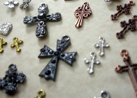 24 Assorted Metal Cross Steampunk Charms
