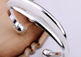Tiffany Inspired Silver wide open cuff Bangle
