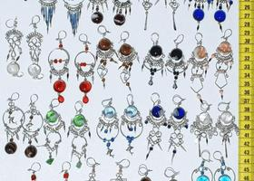 Lot 7 up to 35 Pairs Earrings Alpaca and Colored Glass