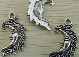 Ornate Tibetan Silver Moon Charm/Pendants