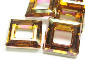 6 Swarovski ® Copper Crystal Square 14mm