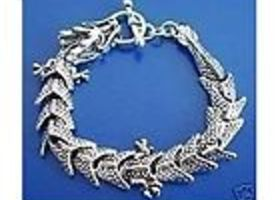 Wonderful Tibet Silver Dragon Bracelet Bangle 8inch