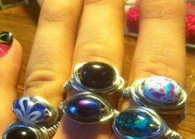 6 handmade rings and 10 stretchy toe rings