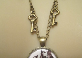 Alice in Wonderland with Keys Necklace