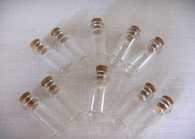 10 Clear Glass Vials w/ Cork  10x28mm