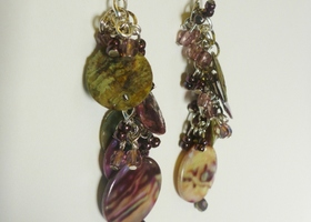 Purple and Green shell earrings