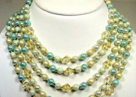 Vintage Faux Pearl/Crystal Necklace & Earring Set