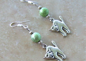 Silver Scardy Cat Earrings