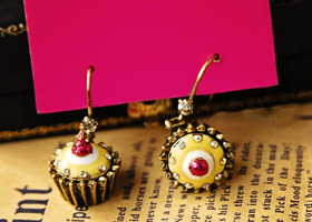 Cute Vintage Cupcake earrings pink and yellow with lots of sparkle!
