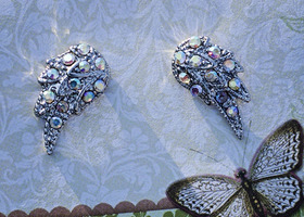Angel Wing steampunk Silver earrings with AB colored Crystals
