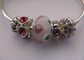 Pink Sparkle European Bead Charm Bracelet Bangle
