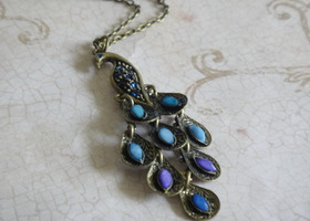 Antique Brass and Rhinestone Peacock Necklace