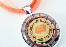Fisherman's Wharf San Francisco Vintage Map Necklace - One of a Kind
