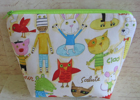 Stand alone Cosmetic Spa bag Whimsy Animals