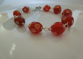 HANDMADE Red and Yellow Dot Lampwork Bead Bracelet