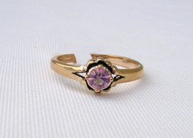 Hand Crafted Amethyst Simulated Antiqued Ring SIZE 9