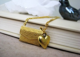 Love letters Gold locket necklace