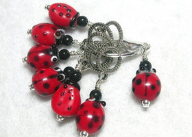 Lady Bugs! Stitch Marker Set or Pendants!