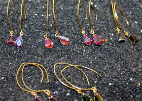 Vintage Swarovski Tear Drop Earrings - Set Of 3 - YOU PICK THE COLORS! 5 NEW COLORS AVAILABLE!