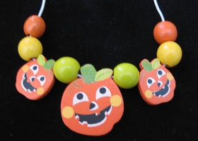 Halloween Necklace Wood Jack O'Lantern