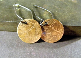 Handmade Butterfly Scroll Copper and Sterling silver Earrings