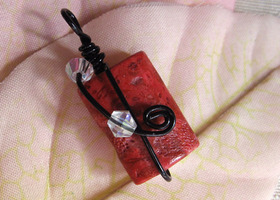 Red Coral Wire Wrapped Pendant - One of a Kind