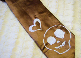 Skully Loves Coppery Mocha Silk Necktie
