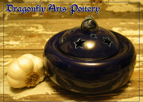 Navy Blue Stoneware Garlic Pot with Stars