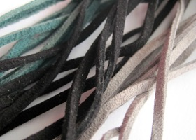 Over 20 feet of suede cord - 3 colors - 80 inches of Turquoise, Black and Grey suede cord