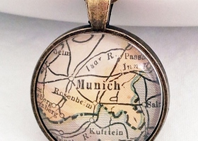 Munich Germany Vintage Map Pendant with Necklace - One of a Kind - Necklace Options