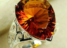 Fabulous Rare Brazilian Citrine Gemstone Ring Sz 7