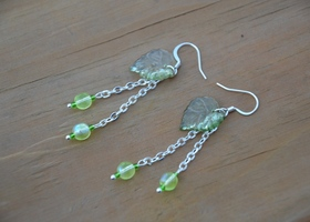 Sterling Silver Green Leaf Dangle earrings